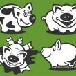 Four cartoon piggies — Stock Vector
