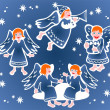 Christmas angels — Stock Vector