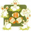 Stock Vector: Easter rabbits