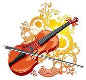 скрипка и абстрактный узор — Cтоковый вектор