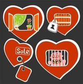 Conceptual heart symbols — Stock Vector