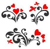 Romantische patronen set — Stockvector