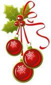Three christmas balls — Stock Vector