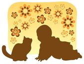 Cat and baby — Stock Vector