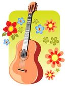 Gitarre und Blumen — Stockfoto