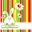 Rabbit and flowers - Stock Photo