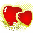 Foto Stock: Two hearts and flower