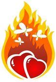 燃烧的心 — 图库照片