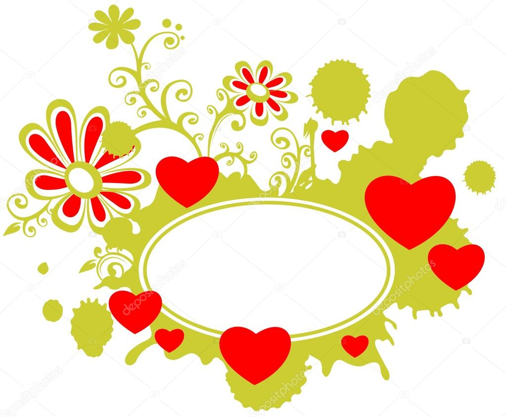 Romantic frame with hearts and flowers on a white background. — Stock Photo #10645444