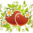Stock Vector: Two hearts and flowers