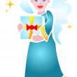 Angel with gift — Stock Vector