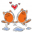 Cats and hearts — Stock Vector