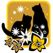Cats and flowers — Stock Vector