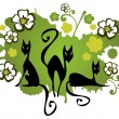 Stock Vector: Three cats and flowers