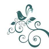 Oiseau et motif floral — Vecteur