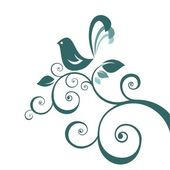Vogel en bloemmotief — Stockvector