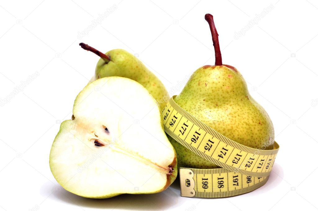 Pears and a measuring tape on a white background — Stock Photo #10105509