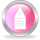 The pink button with a white lodge — Stock Vector