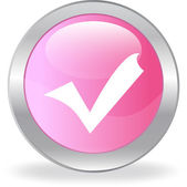 The pink button with a tick — Stock Vector