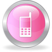 The pink button with drawing of the mobile phone — Stock Vector