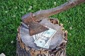 Dollars and axe — Stock Photo