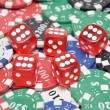 Dice On Poker Chips — Stockfoto