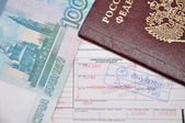 Russian passport, plane ticket and money — Stock Photo