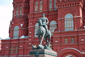 Zhukov monument near National historic museum in Moscow, Russia — Stok fotoğraf