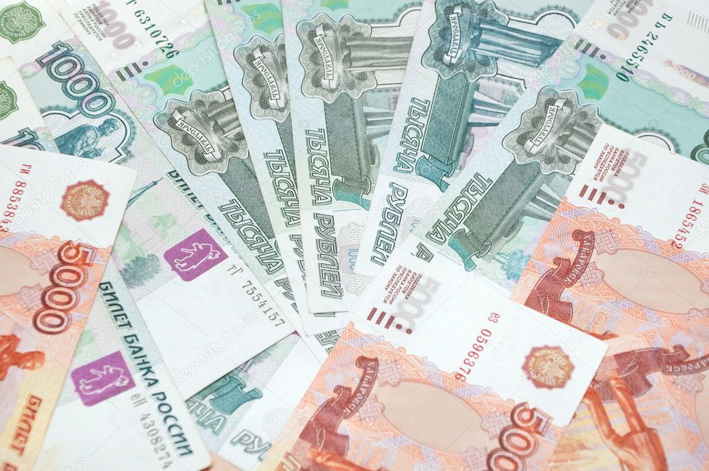 many russian paper money background — Stock Photo #9786514