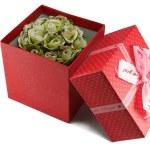 scatola regalo rosso con fiocco — Foto Stock