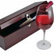 Red wine glass and box. — Stock Photo