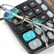 Calculator and glasses — Foto Stock