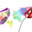 Sunglasses and world map with mouse — Stock Photo