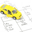 Circuit diagram and toy car — Stock Photo #10028592