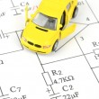 Circuit diagram and toy car — Stock Photo #10028604