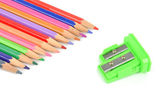 Color pencils and sharpener — Stock Photo