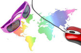 Sunglasses and world map with mouse — Zdjęcie stockowe