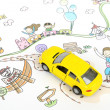 Children's drawing and toy car — Stock Photo #10117525