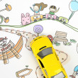 Children's drawing and toy car — Stock Photo #10117584