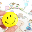 Children's drawing and smiling face - Stock Photo