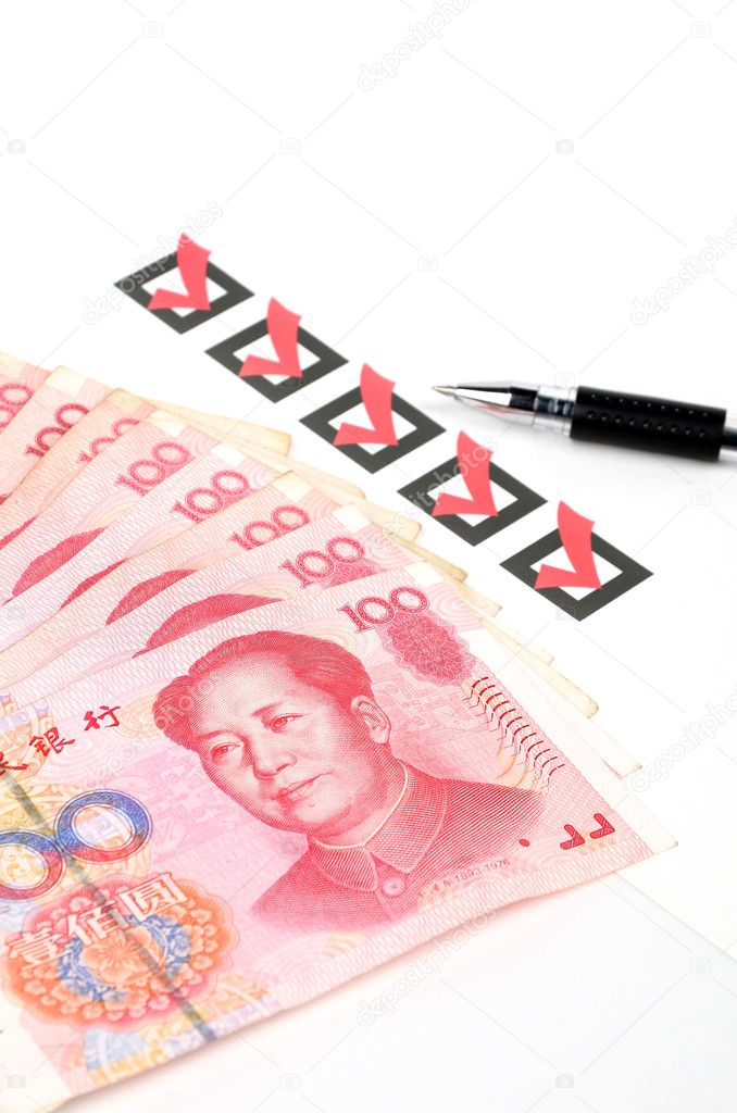 Chinese currency and check box with pen — Stock Photo #10130710