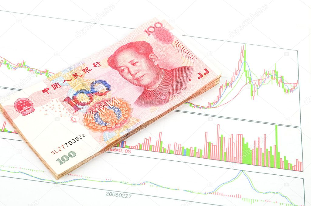 Chinese currency on a trend graph page — Stock Photo #10131756