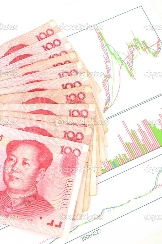 Chinese currency on a trend graph page — Stock Photo #10131959