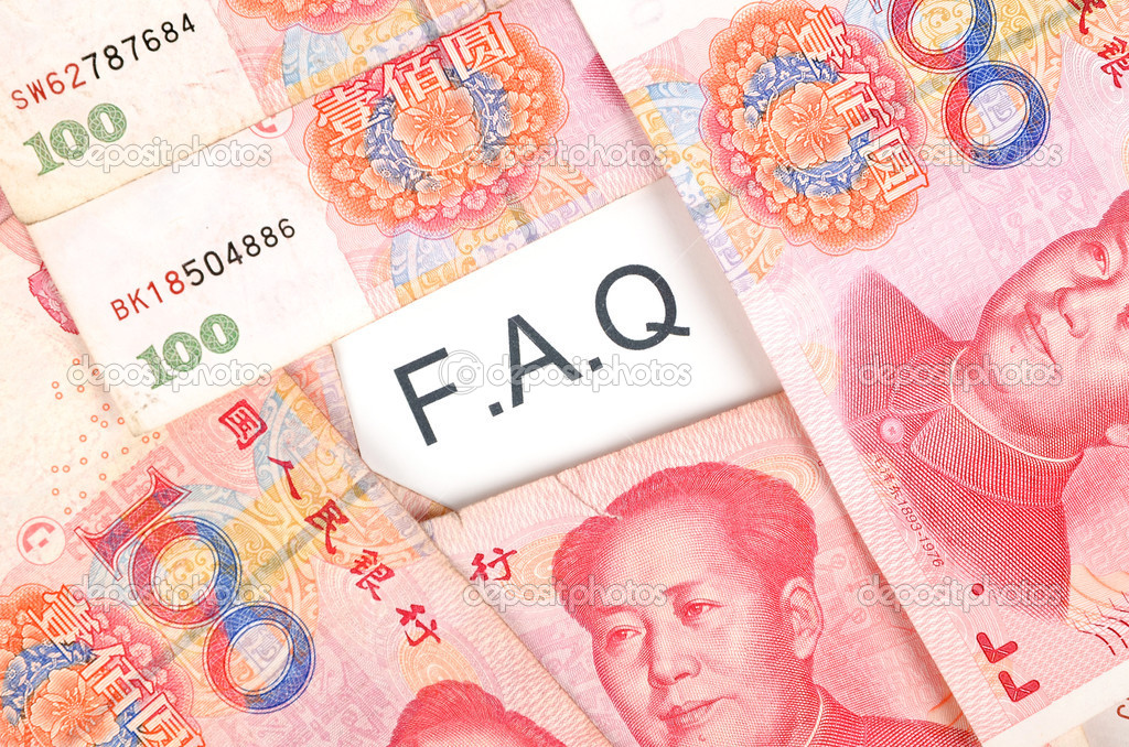 Chinese currency and a faq page  Stock Photo #10137013