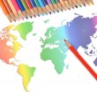 Color pencils and world map — Stock Photo #8470792
