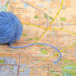 Wool ball and map — Stock Photo #8470898