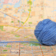 Stock Photo: Wool ball and map