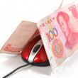 Computer mouse and chinese currency — Stock Photo #8598136