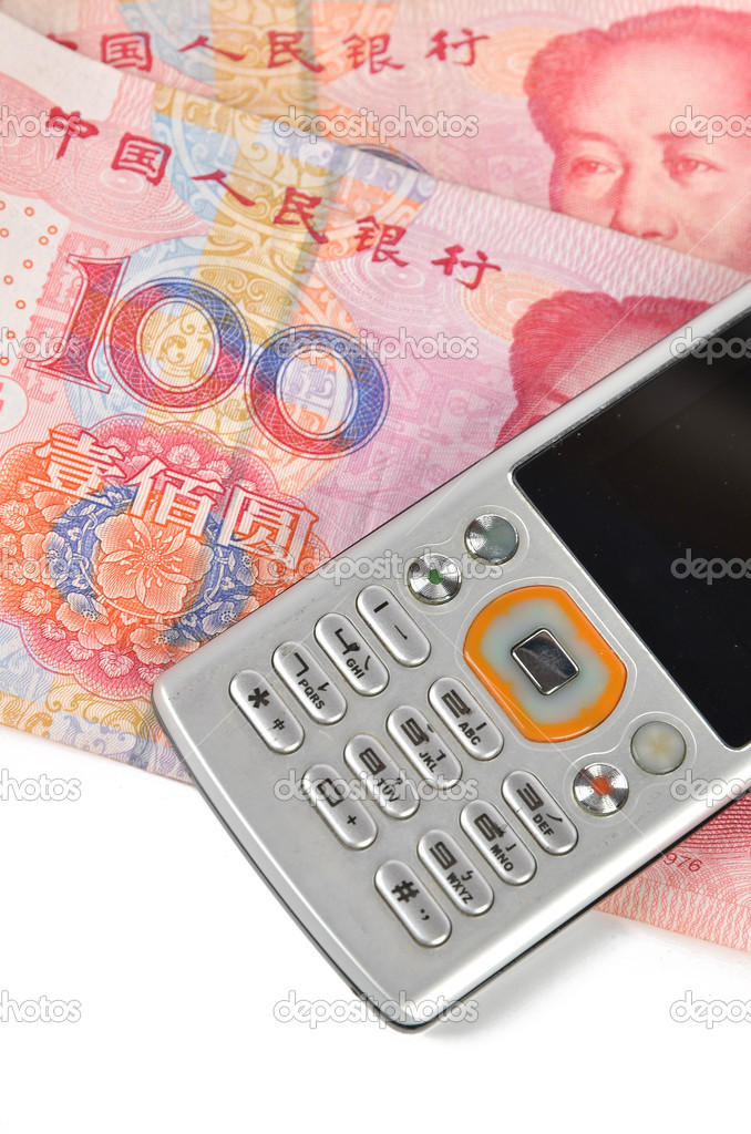 Mobile phone and chinese currency on white background  Stock Photo #8703296