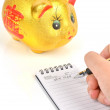 Stock Photo: Piggy bank and notepad